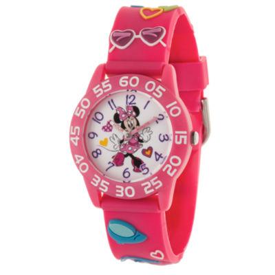 Disney Minnie Mouse Girls Pink Strap Watch-Wds000504