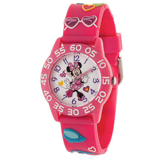 Disney Collection Minnie Mouse Girls Pink Strap Watch-Wds000504