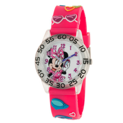 Disney Minnie Mouse Girls Pink Strap Watch-Wds000505
