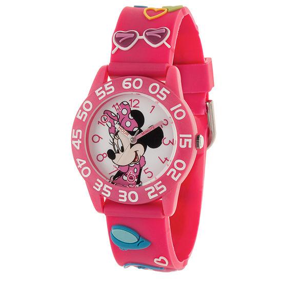 Disney Minnie Mouse Girls Pink Strap Watch-Wds000506