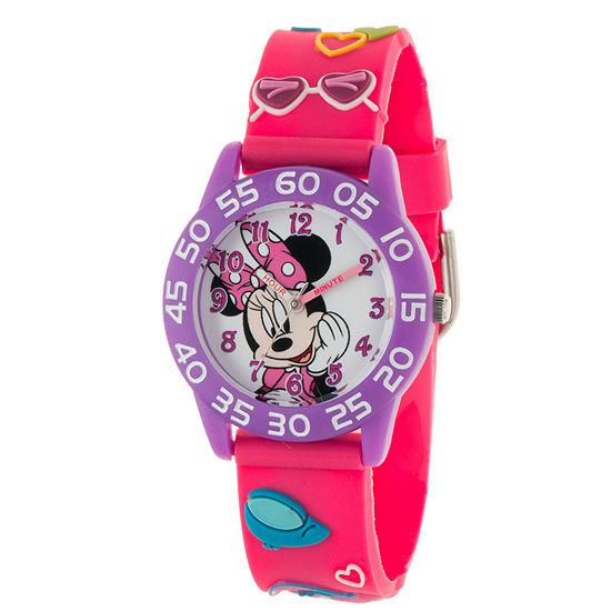 Disney Minnie Mouse Girls Pink Strap Watch-Wds000508