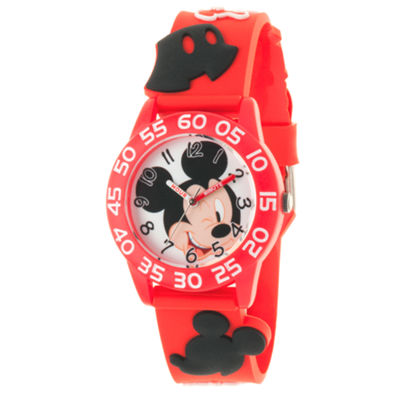 Disney Mickey Mouse Boys Red Strap Watch-Wds000509