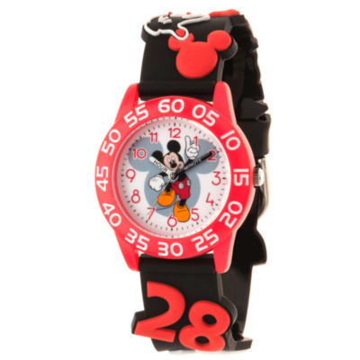 Disney Mickey Mouse Boys Black Strap Watch-Wds000510