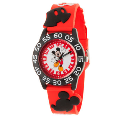 Disney Mickey Mouse Boys Red Strap Watch-Wds000511