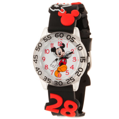 Disney Mickey Mouse Boys Black Strap Watch-Wds000512