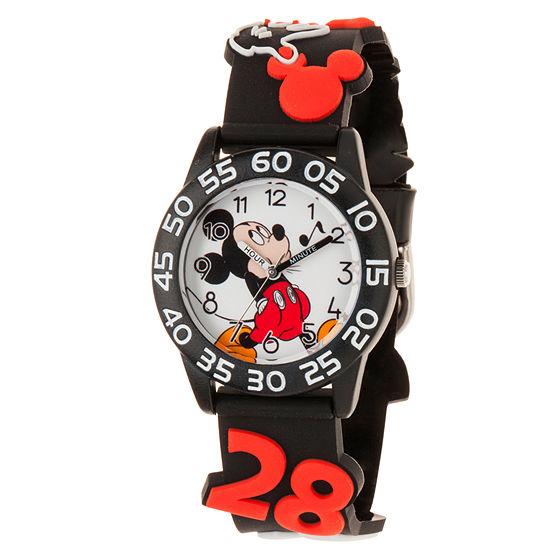 Disney Mickey Mouse Boys Black Strap Watch-Wds000514