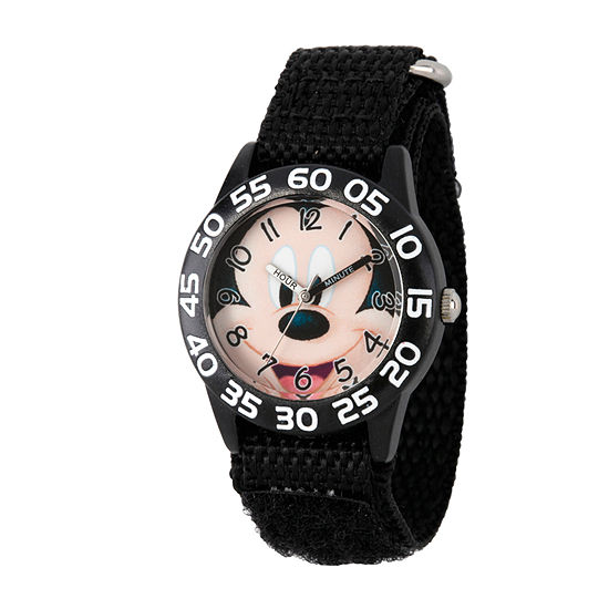 Disney Mickey Mouse Boys Black Strap Watch-Wds000515