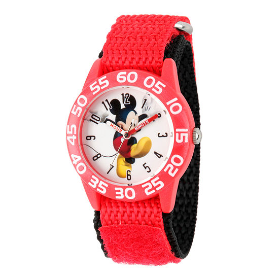 Disney Mickey Mouse Boys Red Strap Watch-Wds000516