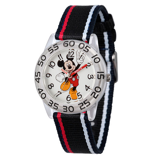 Disney Mickey Mouse Boys Black Strap Watch-Wds000517