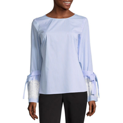 Worthington Lace Trim Bell Sleeve Blouse - Tall