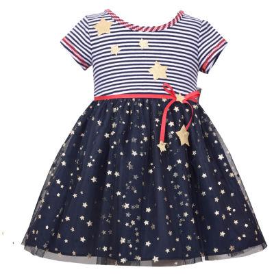 Bonnie Jean Short Sleeve Stripe to Knit Star  Dress - Baby Girls