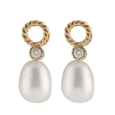 Splendid Pearls 1/10 CT. T.W. Cultured Freshwater Pearl 14K Gold Round Drop Earrings