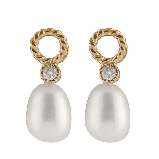 Splendid Pearls 1/10 CT. T.W. Cultured Freshwater 14K Gold Round Drop Earrings