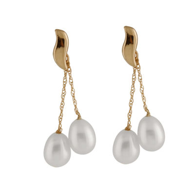 Splendid Pearls Cultured Freshwater Pearl 14K Gold Drop Earrings