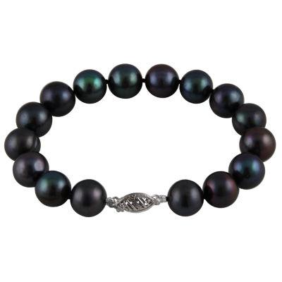 Womens Black Pearl 14K Gold Beaded Bracelet