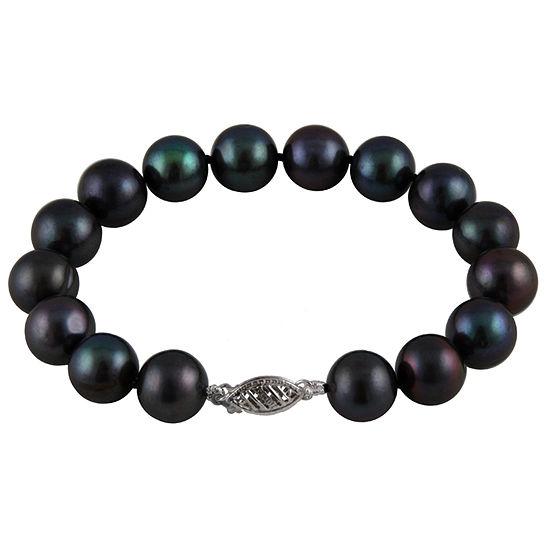 Black Cultured Freshwater Pearl 14K Gold Beaded Bracelet