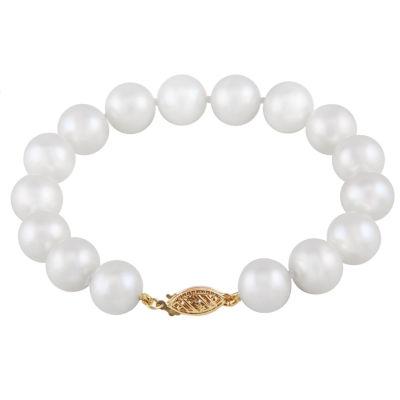 Womens White 14K Gold Beaded Bracelet