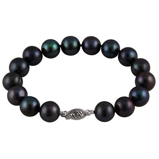 Black Cultured Freshwater Pearl 14K Gold Beaded Bracelet