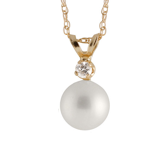 Womens Diamond Accent Genuine White Cultured Freshwater Pearl 14K Gold Round Pendant Necklace