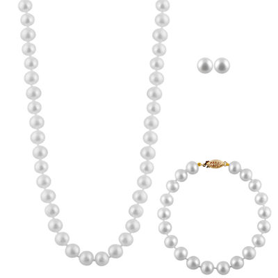 Womens White Cultured Freshwater Pearl 14K Gold 3-pc. Jewelry Set