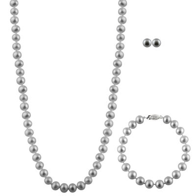 Womens 3-pc. Gray Pearl 14K Gold Jewelry Set