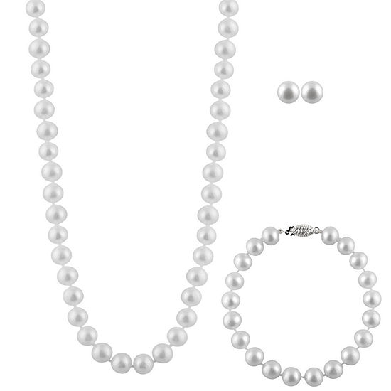 White Cultured Freshwater Pearl Sterling Silver 3 Pc Jewelry Set