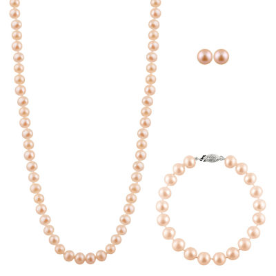 Womens Pink Cultured Freshwater Pearl Sterling Silver 3-pc. Jewelry Set