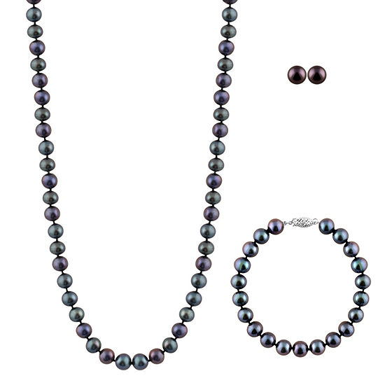 Black Cultured Freshwater Pearl Sterling Silver 3 Pc Jewelry Set