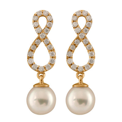 3/8 CT. T.W. Genuine White Cultured Akoya Pearl 14K Gold Round Drop Earrings