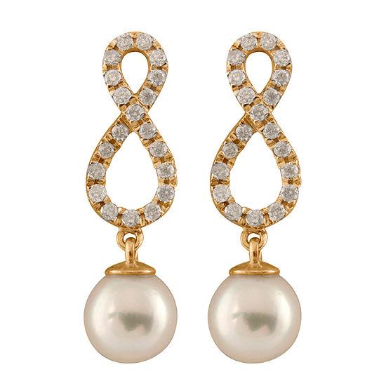 3/8 CT. T.W. Genuine White Cultured Akoya Pearl 14K Gold Round Drop Earrings
