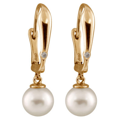 Diamond Accent White Pearl 14K Gold Drop Earrings