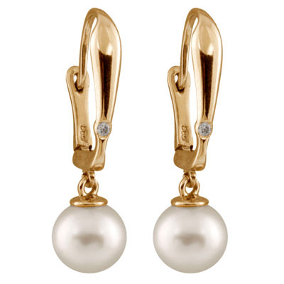 Fine Jewelry 1/10 CT. T.W. Pearl 14K Gold Round Drop Earrings texRfLM