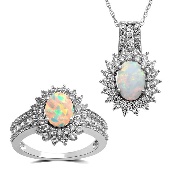 2-pc. Lab-Created Opal & Lab-Created White Sapphire Sterling Silver Jewelry Set