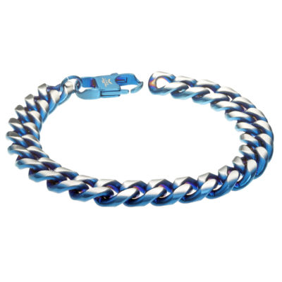 Stainless Steel 8 1/2 Inch Solid Curb Chain Bracelet