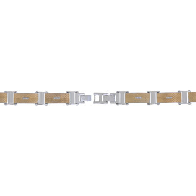 Mens 8 1/2 Inch White Cubic Zirconia Stainless Steel Link Bracelet