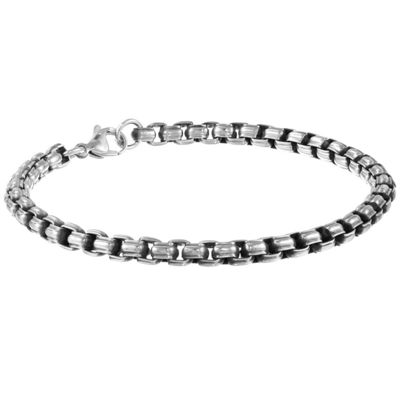 Stainless Steel 9 Inch Solid Box Chain Bracelet