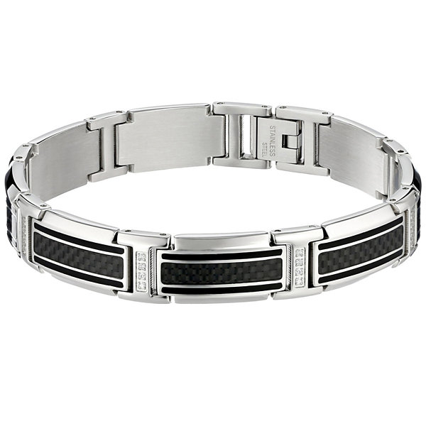Mens 8 1/2 Inch 1/4 CT. T.W. White Diamond Stainless Steel Link Bracelet
