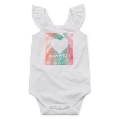 Okie Dokie Flutter Sleeve Sleeveless Bodysuit - Baby Girl NB-24M