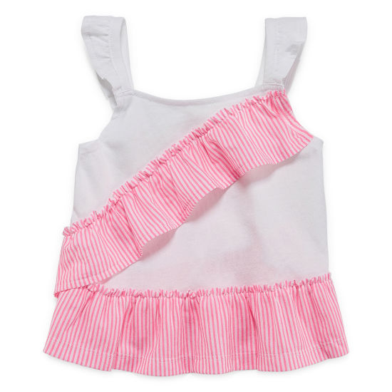 Okie Dokie Stripe Ruffle Sleeveless Tank - Baby Girl NB-24M