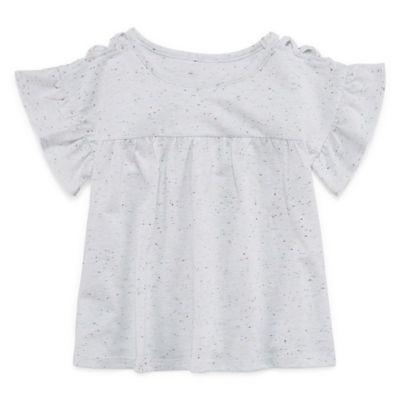 Okie Dokie Round Neck Short Sleeve Blouse - Toddler Girls