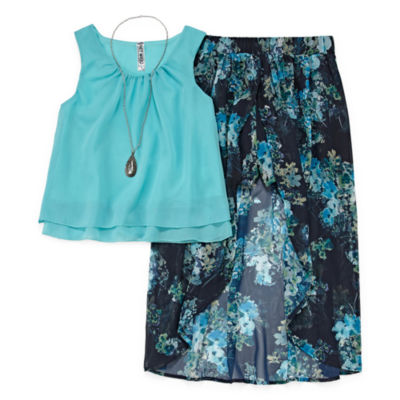 Knit Works Chiffon Tank Top with Floral Walk Thru Skirt Set - Girls' 7-16 & Plus