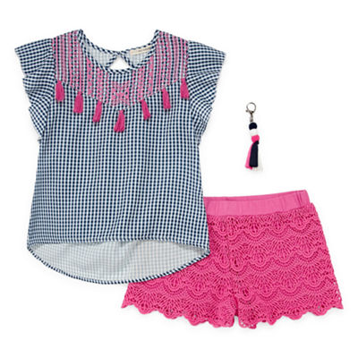 Self Esteem Short Sleeve Woven Top with Crochet Short Set - Girls' 4-16 & Plus