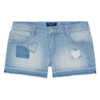 Arizona Denim Release Hem Patch Shortie Shorts Girls 4-16 and Plus