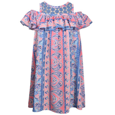 Bonnie Jean Short Sleeve Paisley A-Line Dress Girls