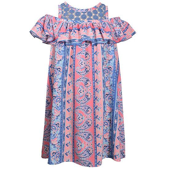 Bonnie Jean Girls Short Sleeve Paisley A-Line Dress - Preschool / Big Kid