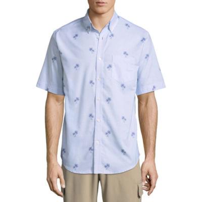 St. John's Bay Short Sleeve Plaid Button-Front Shirt