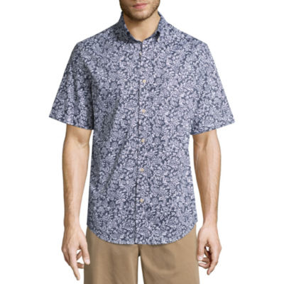 St. John's Bay Short Sleeve Slim Fit Floral Button-Front Shirt