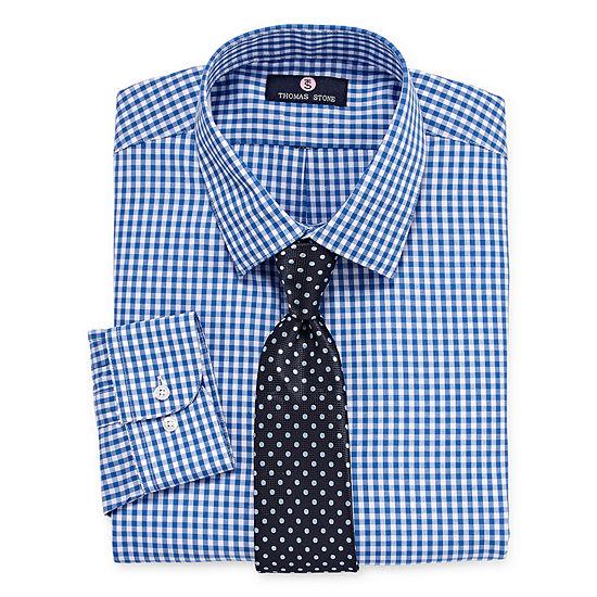Thomas Stone Thomas Stone Shirt And Tie Set Big And Tall Mens Point Collar Long Sleeve Shirt + Tie Set