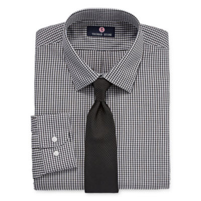 Thomas Stone Shirt And Tie Set Big And Tall Mens Point Collar Long Sleeve Shirt + Tie Set
