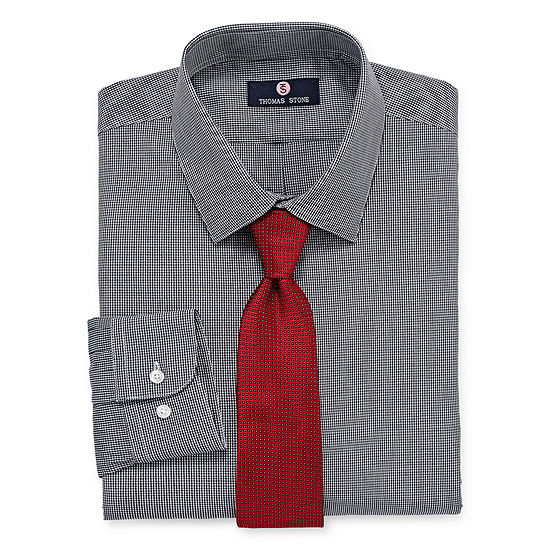 Thomas Stone Thomas Stone Shirt And Tie Set Big And Tall Mens Point Collar Long Sleeve Shirt + Tie Set